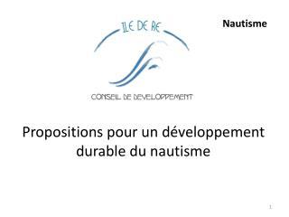 Propositions pour un développement durable du nautisme