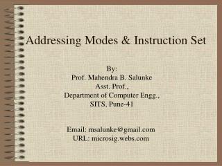 Addressing Modes & Instruction Set