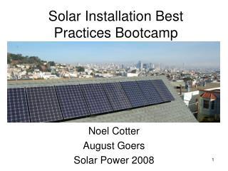 Solar Installation Best Practices Bootcamp