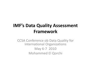IMF's  Data Quality Assessment Framework