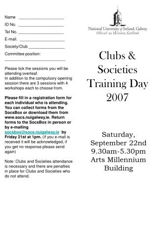 Clubs & Societies Training Day 2007