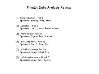 PrimEx Data Analysis Review
