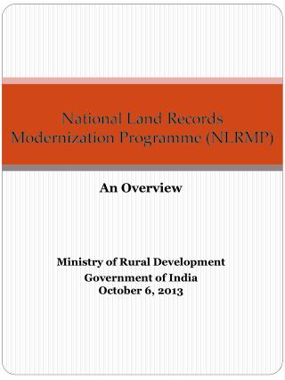 National Land Records Modernization  Programme  (NLRMP)