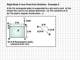 Rigid Body F=ma Fixed Axis Rotation:  Example 3