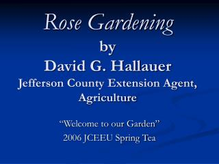 Rose Gardening by David G. Hallauer Jefferson County Extension Agent, Agriculture