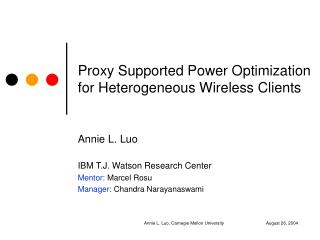 Proxy Supported Power Optimization for Heterogeneous Wireless Clients