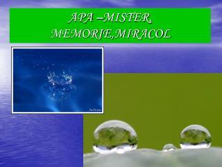 APA �MISTER,  MEMORIE ,MIRACOL