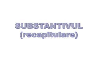 SUBSTANTIVUL (recapitulare)