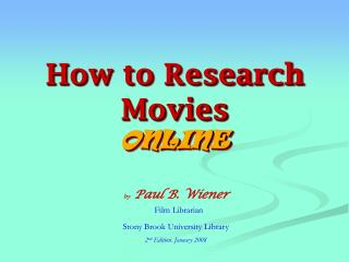 How to Research Movies ONLINE