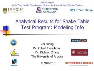 Analytical Results for Shake Table Test Program: Modeling Info