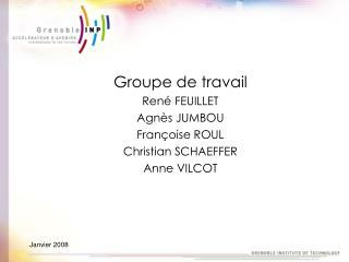 Groupe de travail René FEUILLET  Agnès JUMBOU Françoise ROUL Christian SCHAEFFER Anne VILCOT