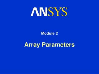 Array Parameters