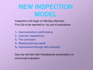 NEW INSPECTION MODEL