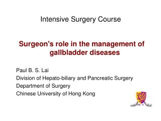 Intensive Surgery Course