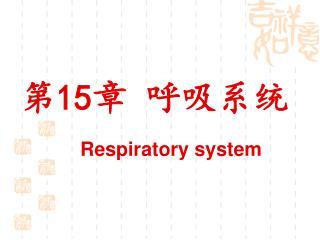 第 15 章 呼吸系统 Respiratory system