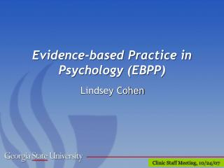 Evidence-based Practice in Psychology EBPP