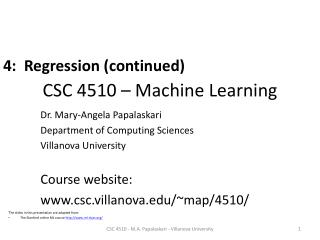 CSC 4510 � Machine Learning