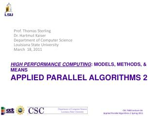 HIGH PERFORMANCE COMPUTING : MODELS, METHODS, & MEANS APPLIED PARALLEL ALGORITHMS 2