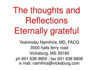 The thoughts and Reflections Eternally grateful