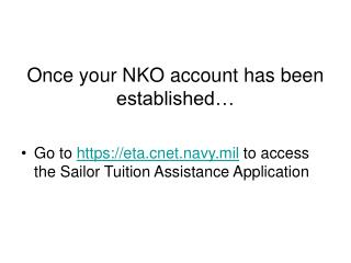Once your NKO account has been established�