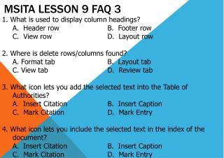 MSITA Lesson 9 FAQ 3