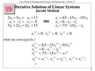 Iterative Solution of Linear Systems Jacobi Method