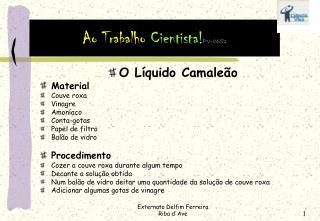 O Líquido Camaleão Material Couve roxa Vinagre Amoníaco Conta-gotas Papel de filtro Balão de vidro