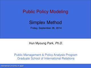 Public Policy Modeling Simplex Method Friday, September 26, 2014