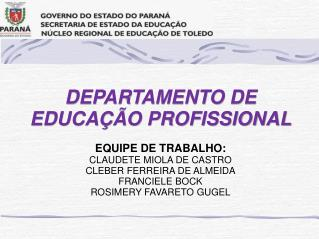 DEPARTAMENTO DE EDUCAÇÃO PROFISSIONAL EQUIPE DE TRABALHO: CLAUDETE  MIOLA  DE CASTRO