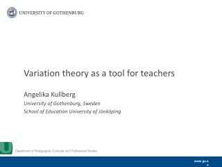 Variation  theory  as a  tool  for  teachers