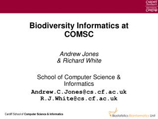 Biodiversity Informatics at COMSC