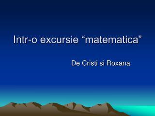 """Intr-o excursie """"matematica"""""""