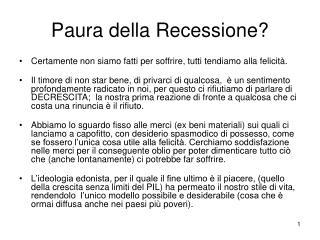 Paura della Recessione?