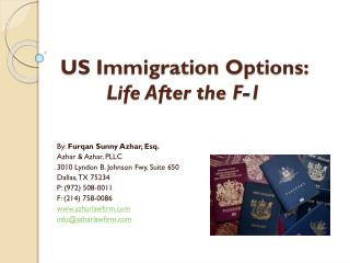 US Immigration Options:  Life After the F-1