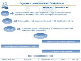 Organiser la prestation d'Audit Qualité Interne