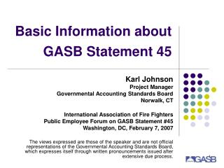 Basic Information about GASB Statement 45