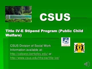 Title IV-E Stipend Program (Public Child Welfare)