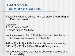 Part 3 Module 5 The Multiplication Rule