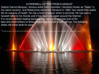 A FAREWELL LETTER FROM A GENIUS*