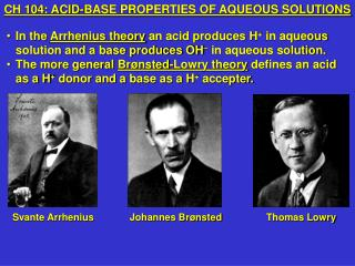 CH 104: ACID-BASE PROPERTIES OF AQUEOUS SOLUTIONS