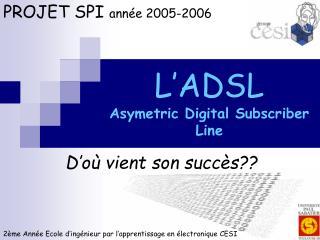 L'ADSL Asymetric Digital Subscriber Line