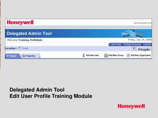Delegated Admin Tool Edit User Profile Training Module