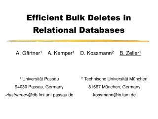 Efficient Bulk Deletes in Relational Databases