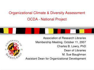 Organizational Climate & Diversity Assessment OCDA - National Project