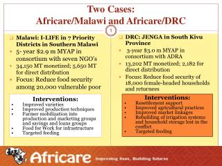 Two Cases:  Africare/Malawi and Africare/DRC