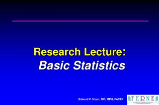 Research Lecture :  Basic Statistics
