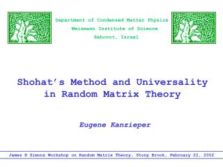 Shohat's Method and Universality  in Random Matrix Theory