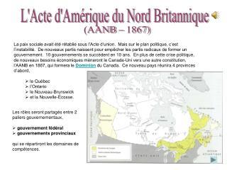 L'Acte d'Amérique du Nord Britannique