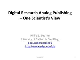 Digital Research Analog Publishing – One Scientist's View