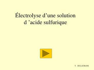 Électrolyse d'une solution d'acide sulfurique